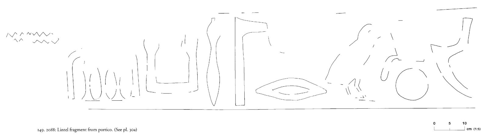 Drawings: G 2088: relief fragments from portico, lintel