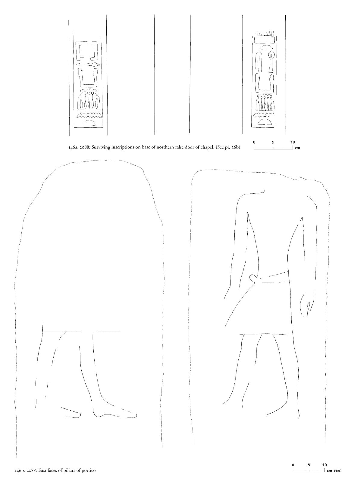 Drawings: G 2088: relief from chapel, N false door, base; and portico, pillars, E faces