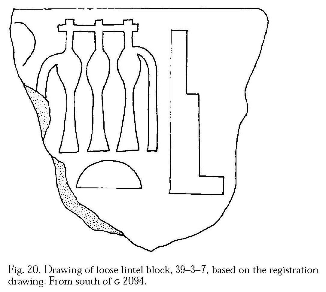 Drawings: G 2084: relief from lintel block, from S of tomb