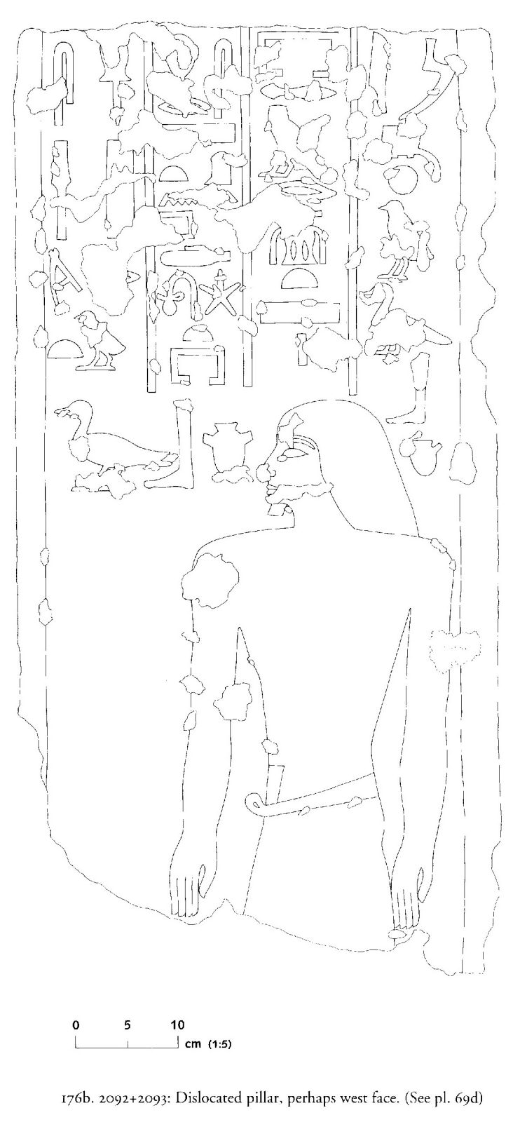 Drawings: G 2092+2093: relief from pillar, dislocated, possibly W face