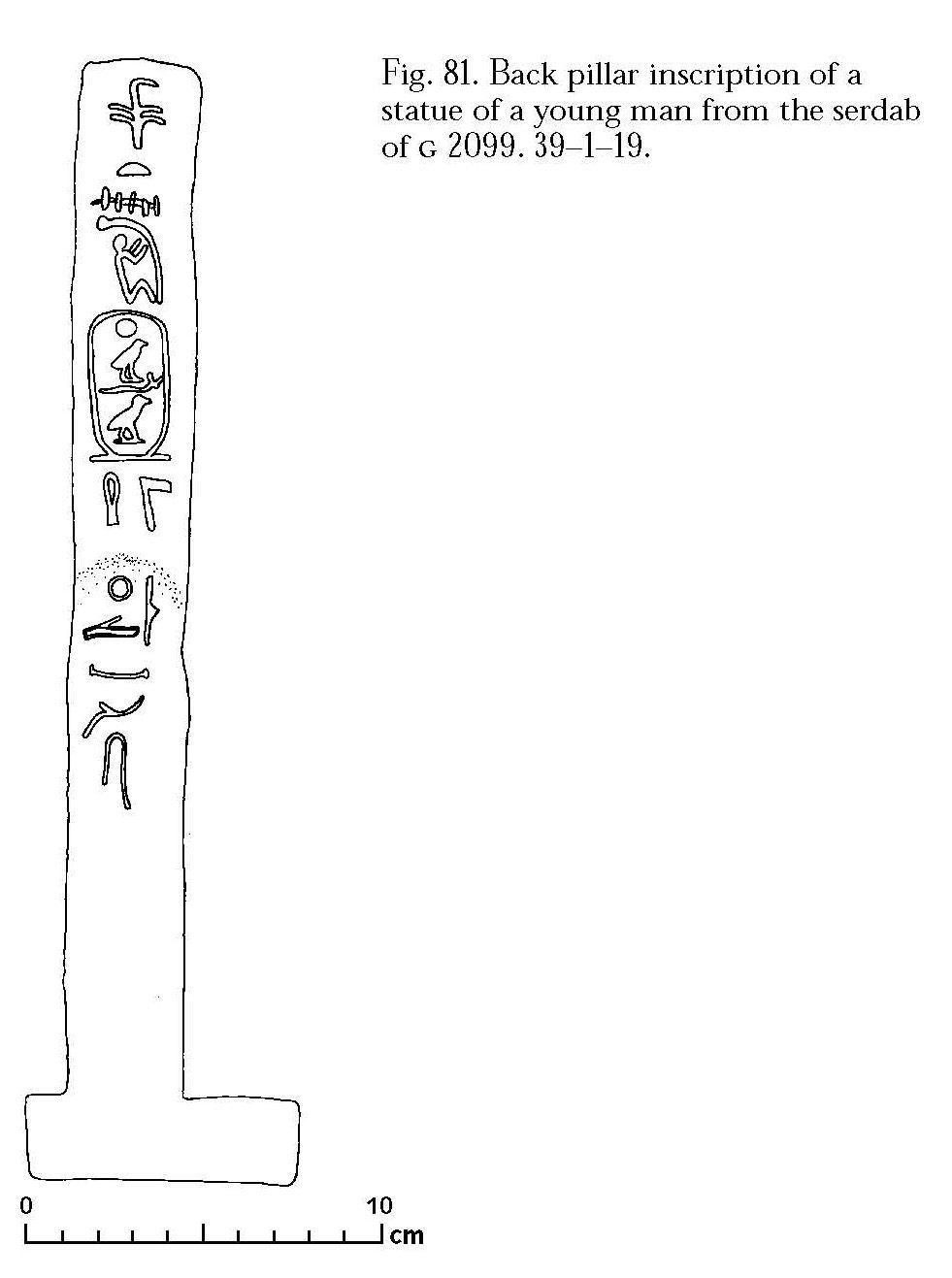 Drawings: G 2099: inscription from statue, back pillar