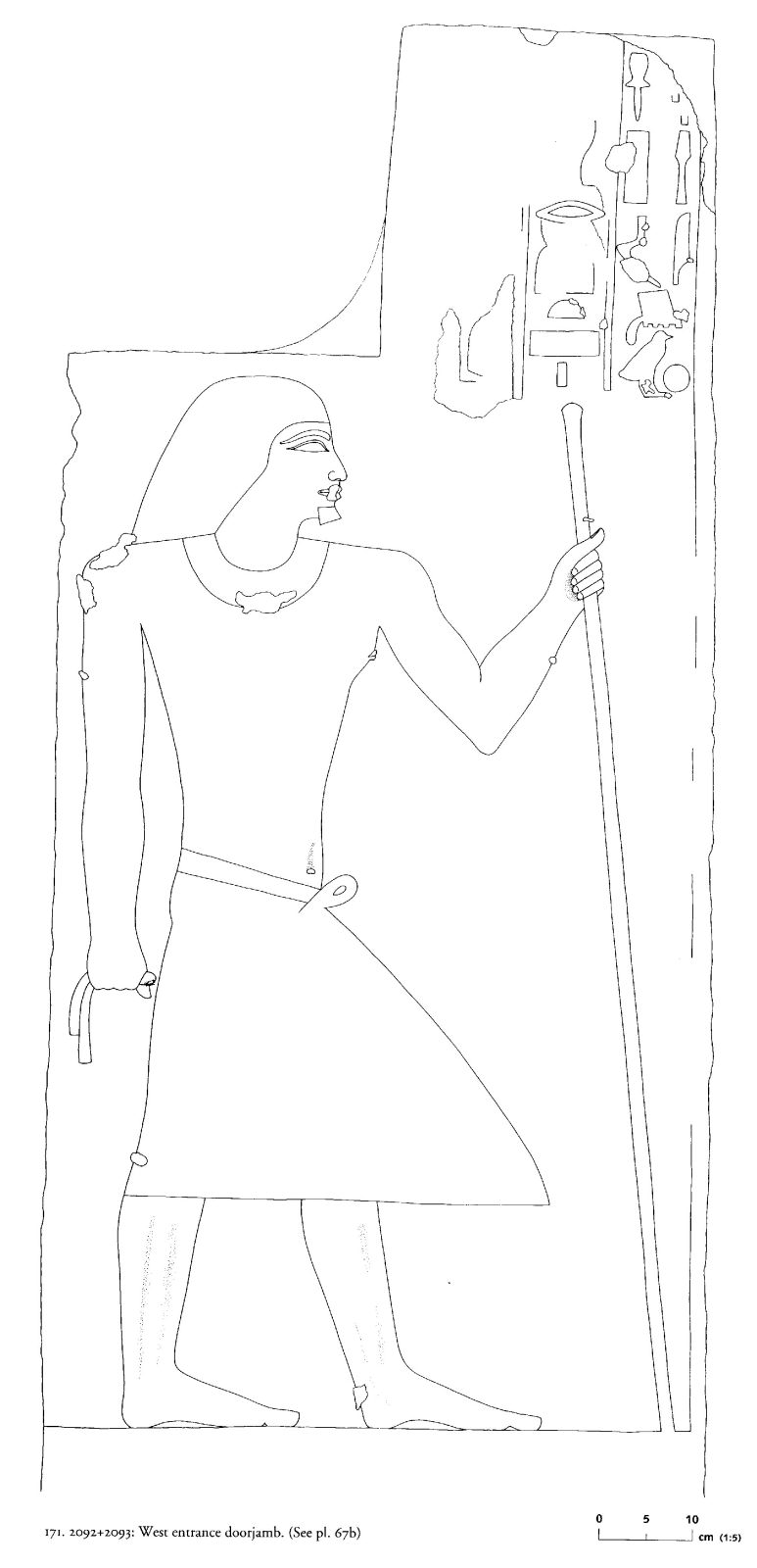 Drawings: G 2092+2093: relief from entrance, W jamb