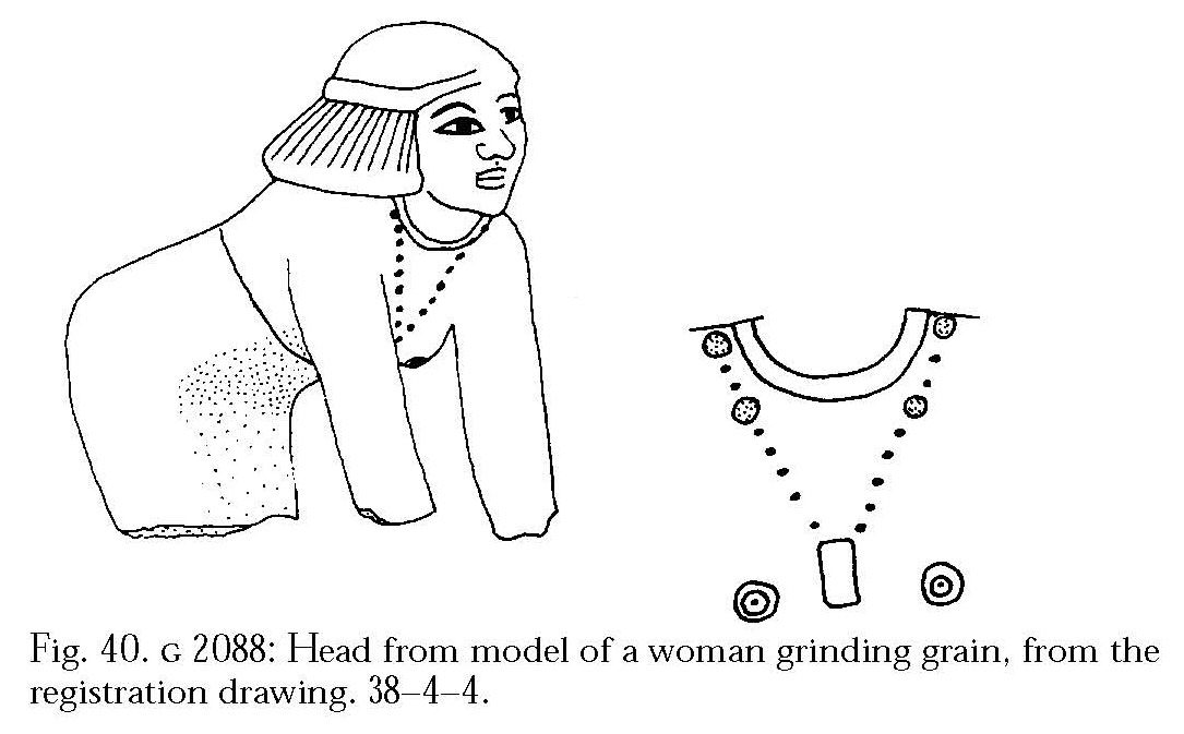 Drawings: G 2088: statue (serving statue) fragment, upper part, with detail