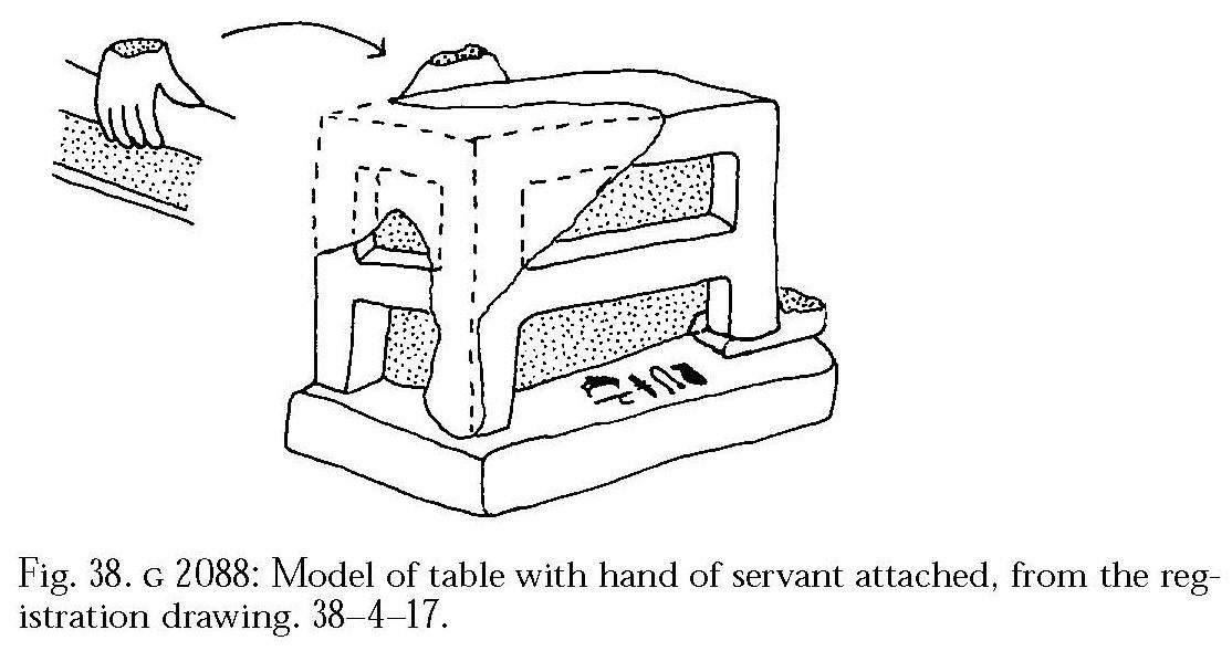 Drawings:  G 2088: model table with hand of serving figure attached