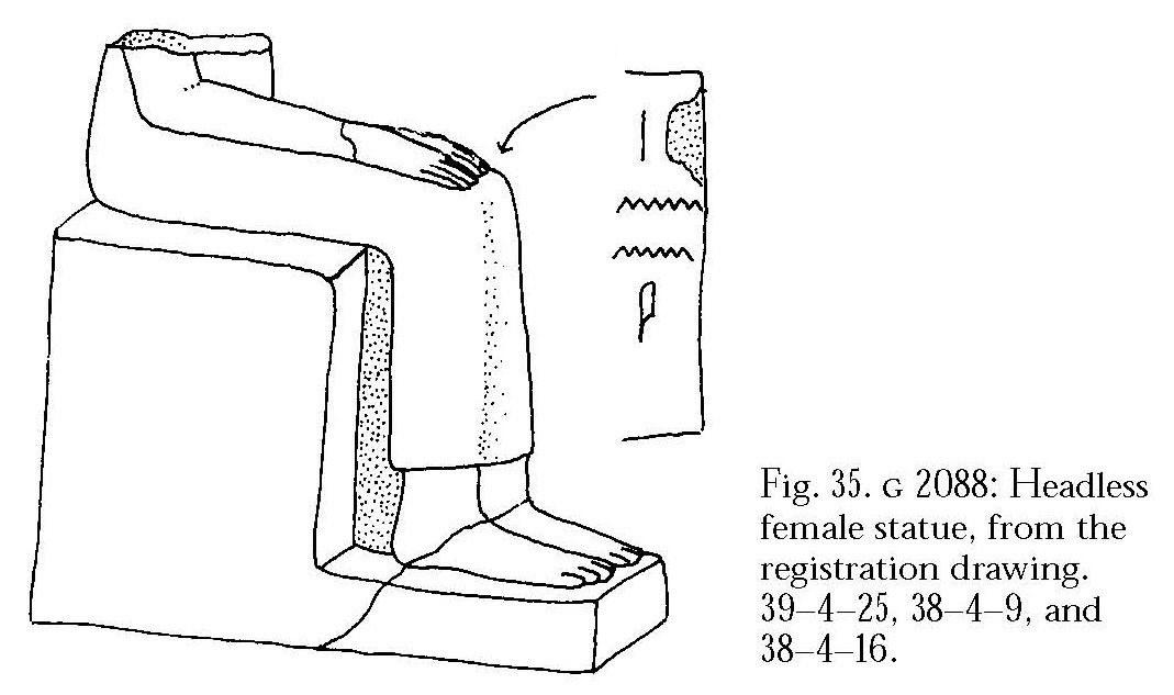 Drawings: Statue fragments (joining), seated female, from G 2241, Shaft B, and G 2088