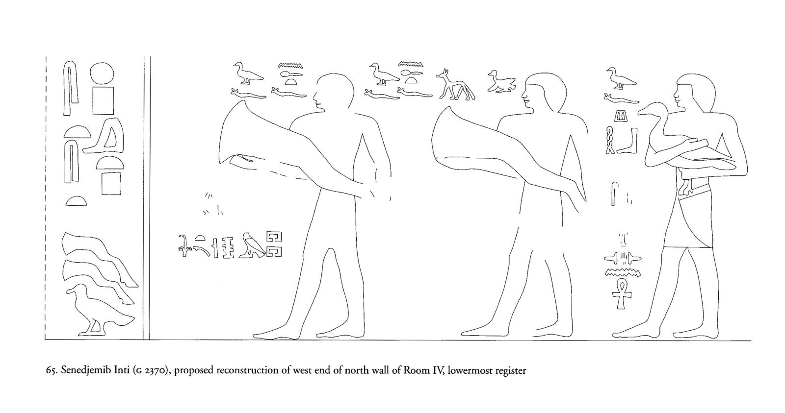 Drawings: G 2370: relief from Room IV, N wall, W end, reconstruction