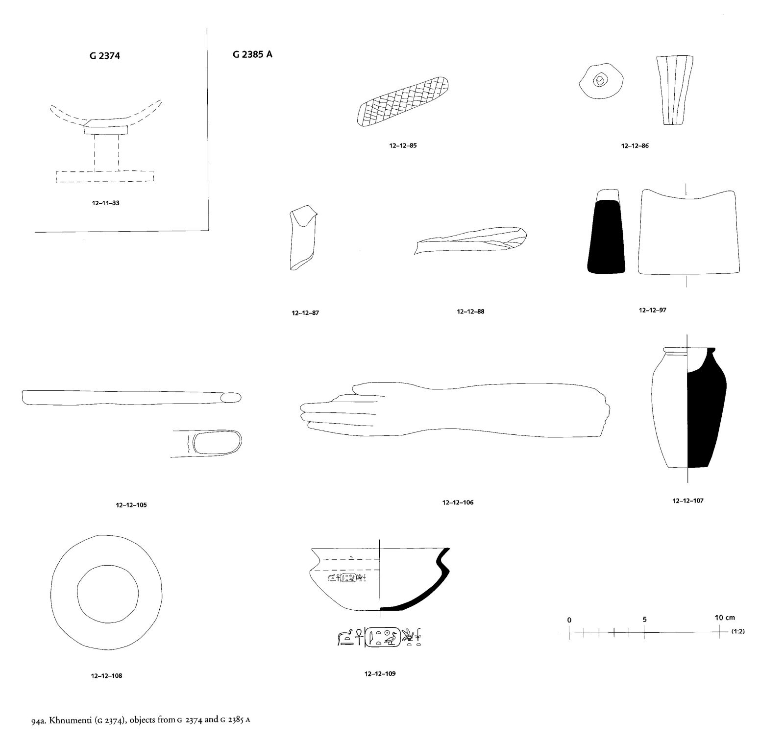 Drawings: Objects from G 2374 and G 2385, Shaft A