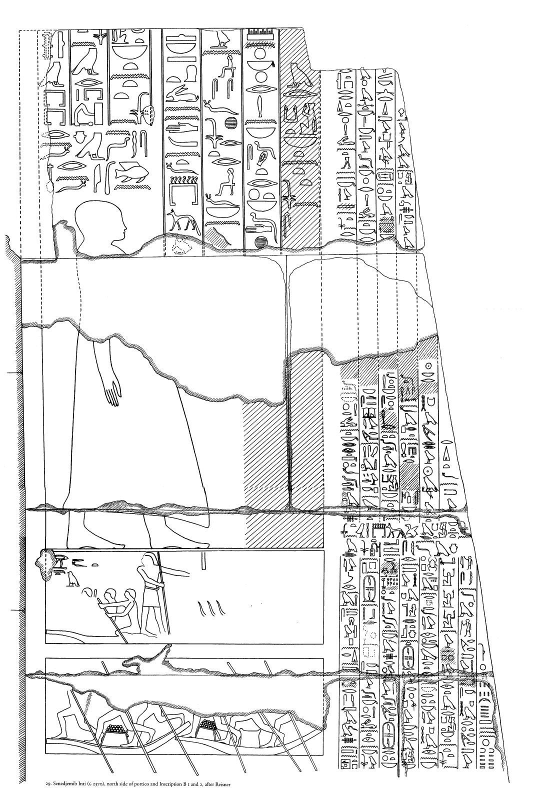 Drawings: G 2370: relief from portico, N side, Inscriptions 1-2