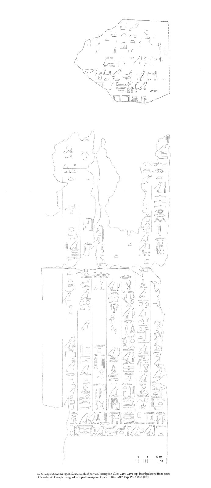 Drawings: G 2370: relief from court, inscribed stone and facade, S of portico, Inscription C