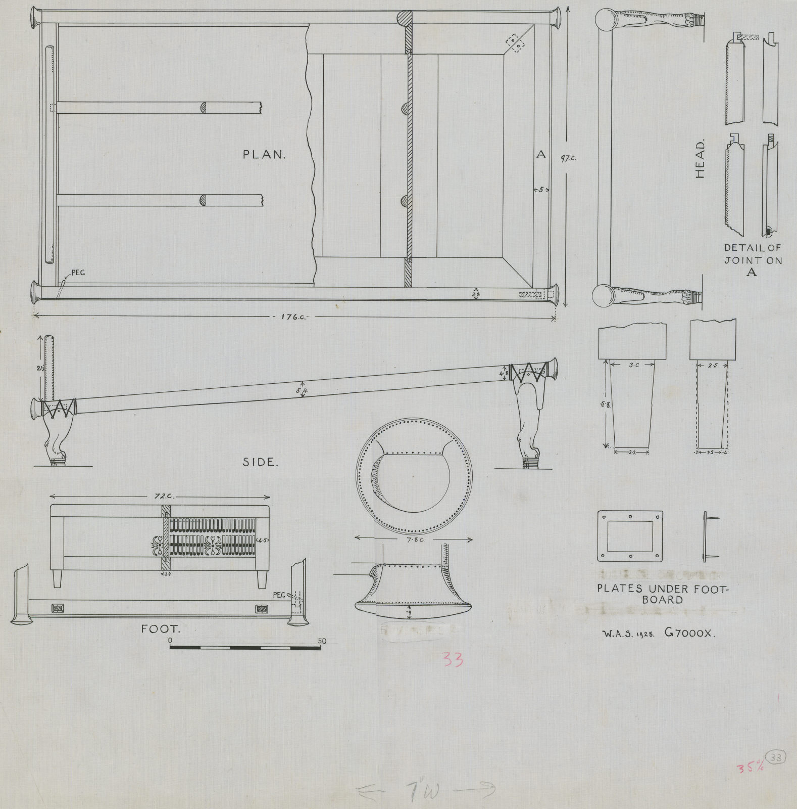 Drawings: G 7000 X: bed, components, restoration