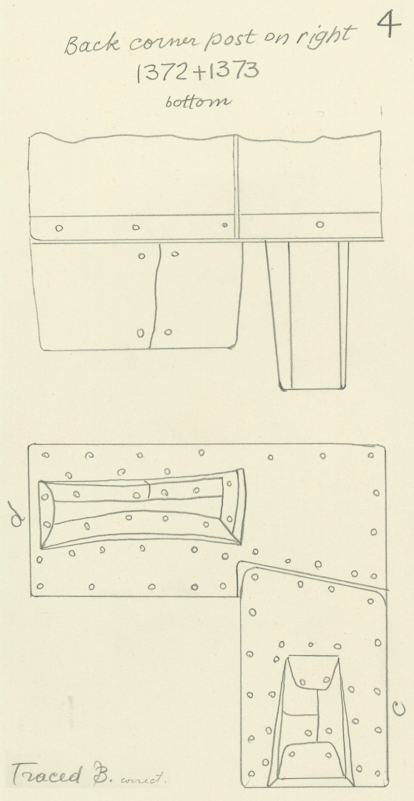 Drawings: G 7000 X: bed canopy,  fittings from corner post of beams