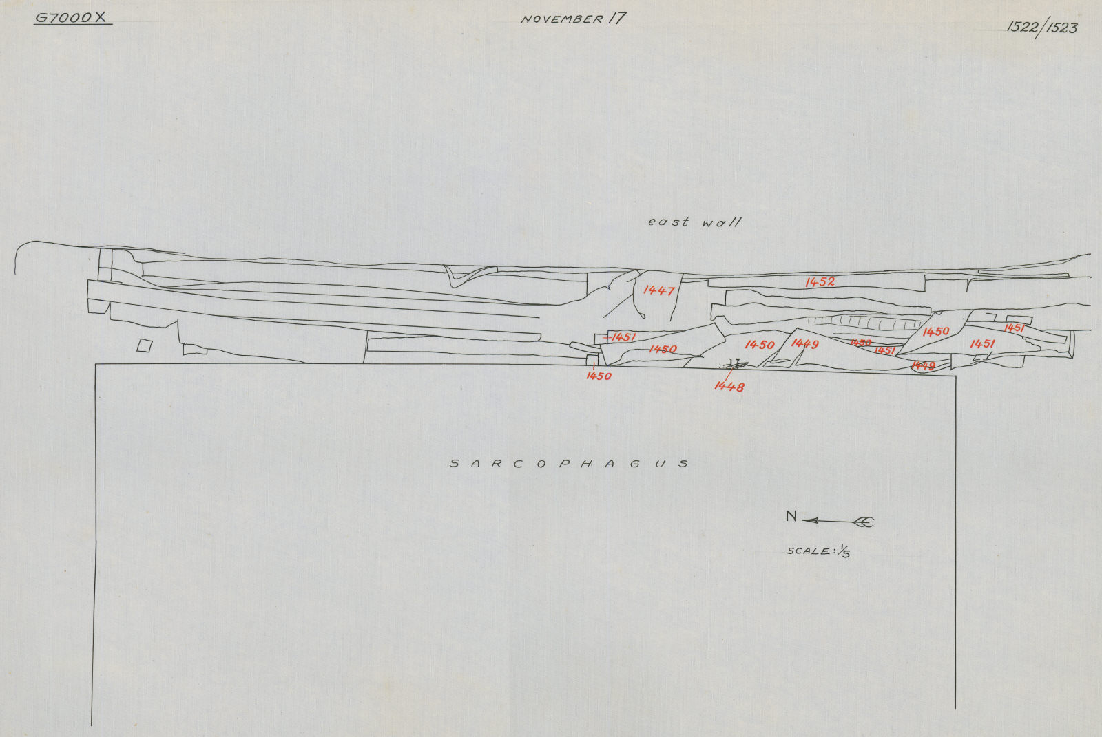 Drawings: G 7000 X, Plan of chamber, space between sarcophagus and E wall
