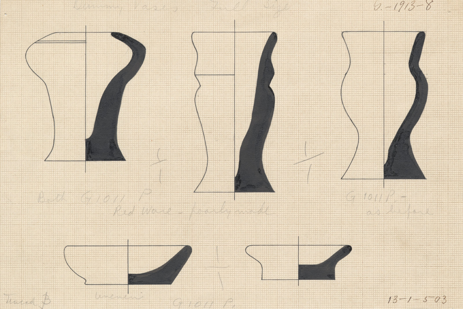 Drawings: G 1011, Shaft P: pottery, model vessels