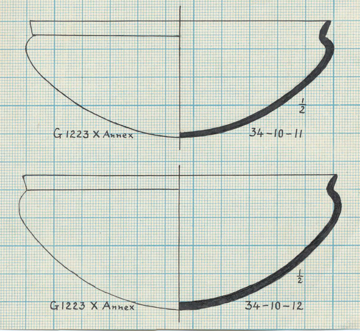 Drawings: G 1223-Annex, Shaft  X: pottery, bowls with recurved rim