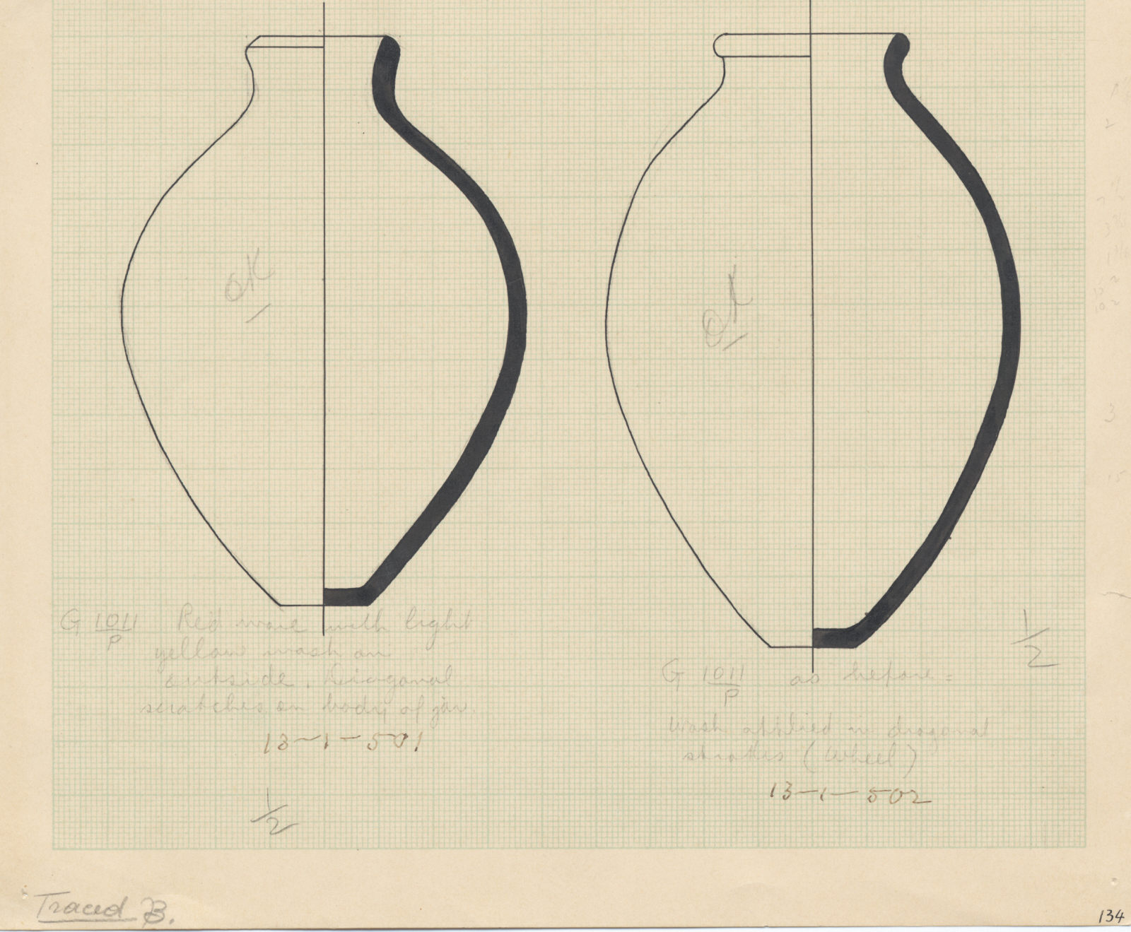Drawings: G 1011, Shaft P: pottery, jars