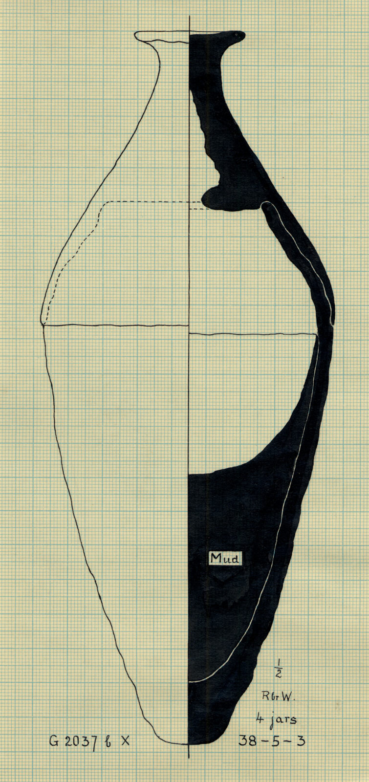 Drawings: G 2037, Shaft X: pottery, offering jar