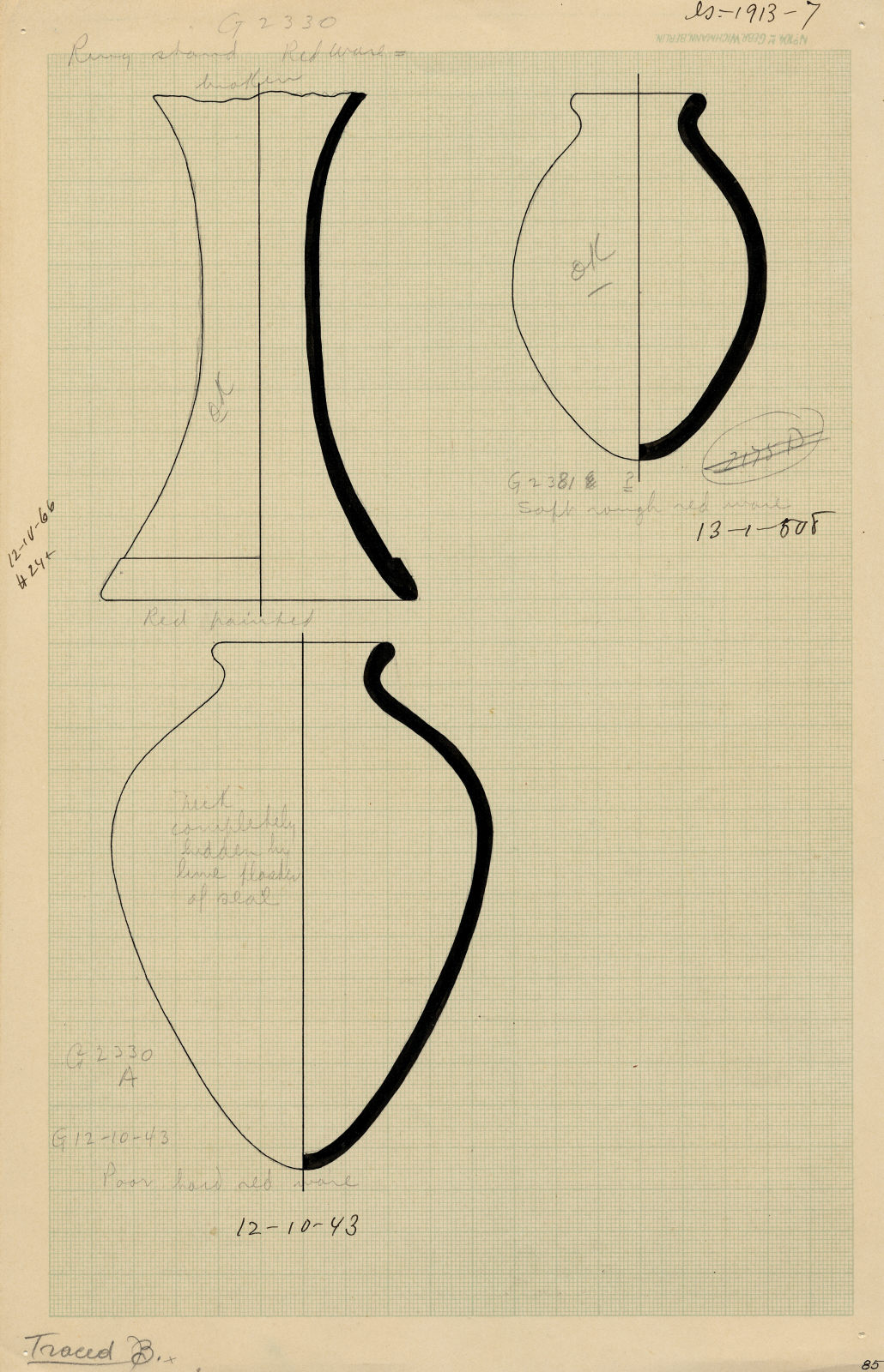 Drawings: Pottery, objects from G 2330 (= G 5380), G 2330 (= G 5380), Shaft A, G 2381