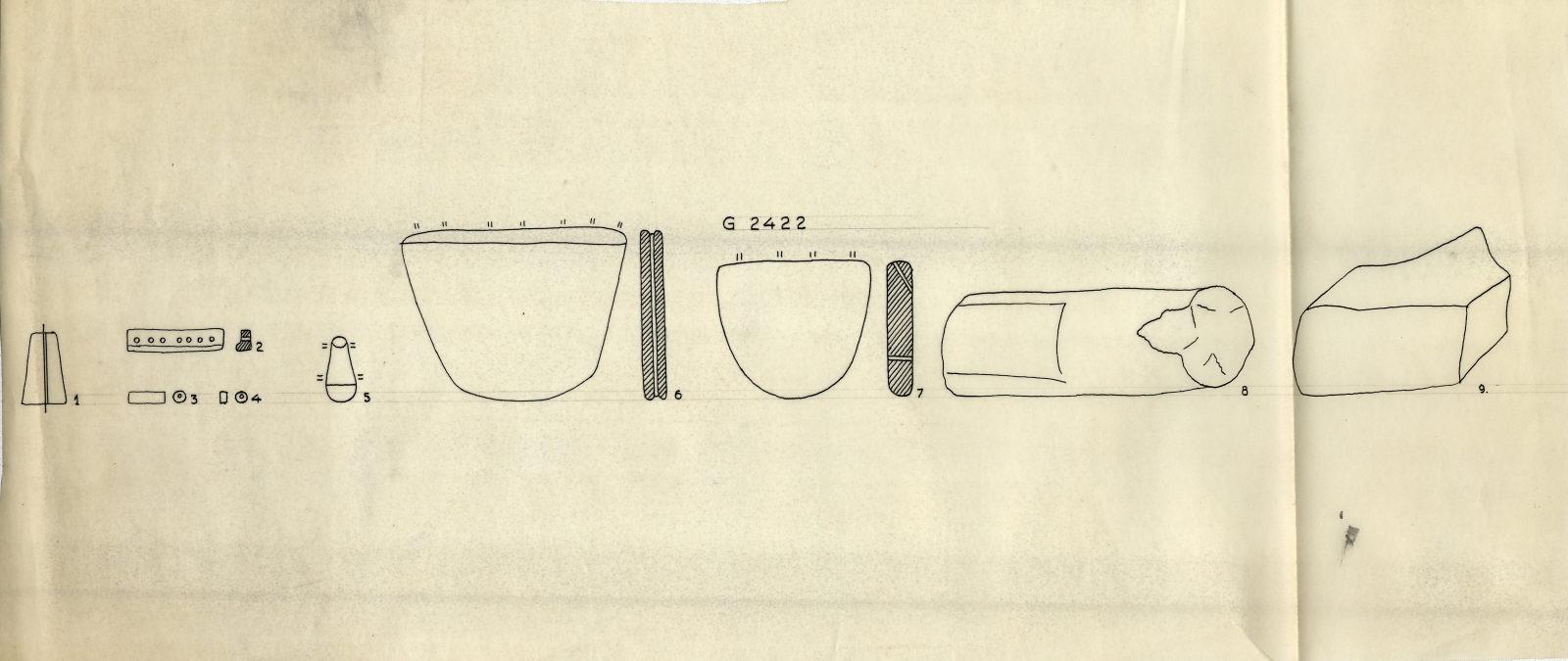 Drawings: G 2422: objects, limestone, sandstone, faience