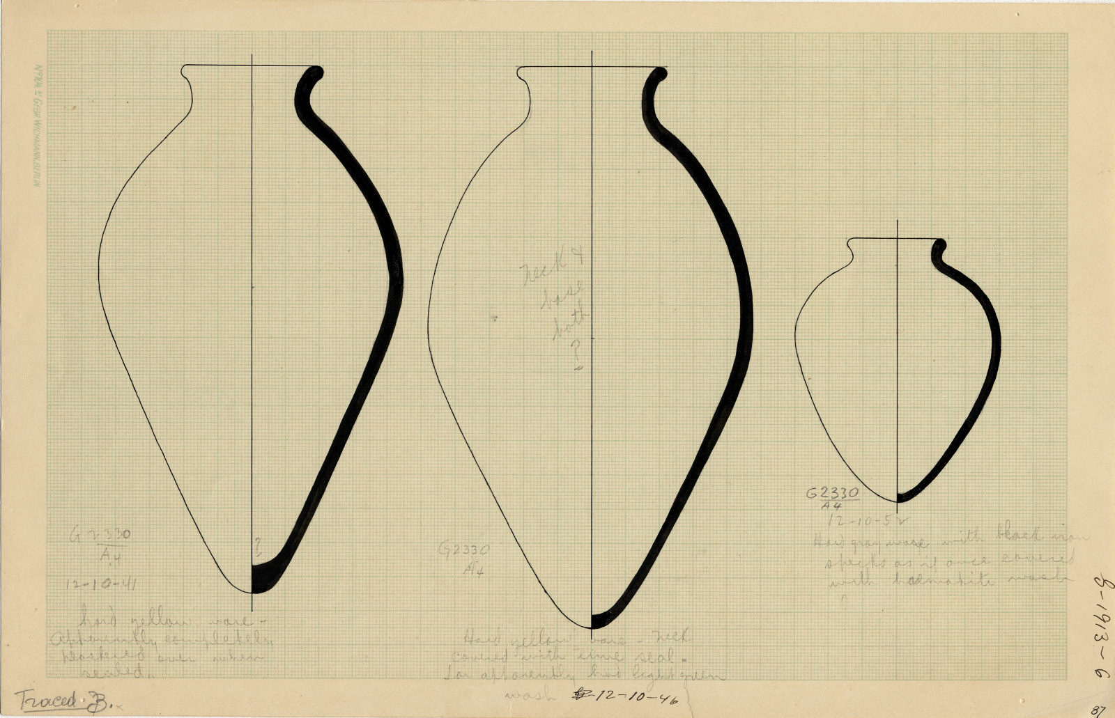 Drawings: G 2330 (= G 5380), Shaft A: pottery, jars