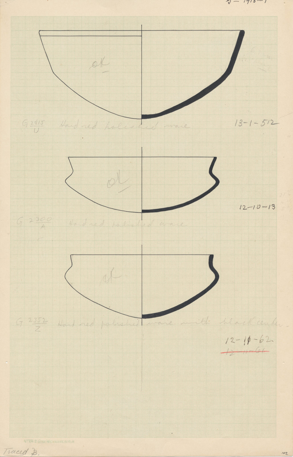 Drawings: Pottery, bowls from G 2300 (=G 5190), Shaft A, G 2415, Shaft U, G 2352, Shaft Z
