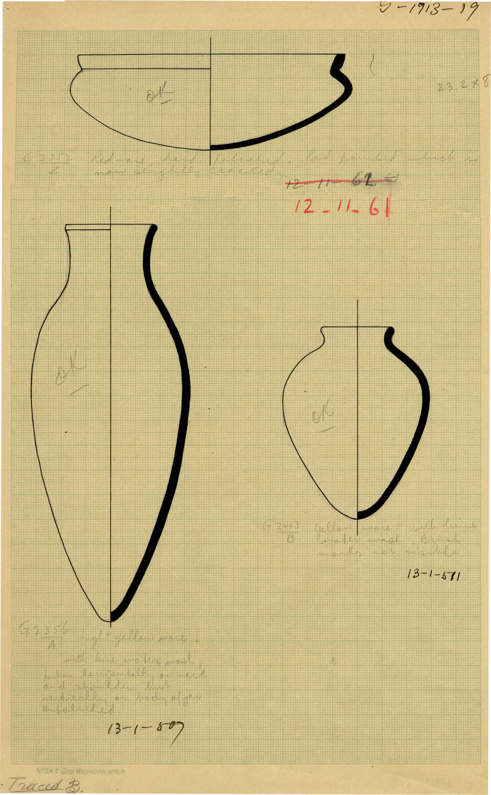 Drawings: Pottery from G 2352, G 2356, Shaft A, G 2413, Shaft B