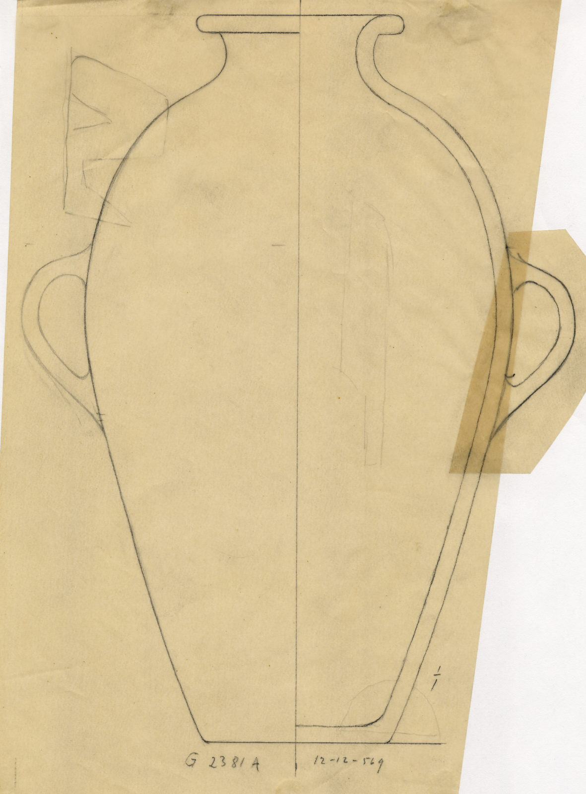 Drawings: G 2381, Shaft A: pottery, jar with two handles