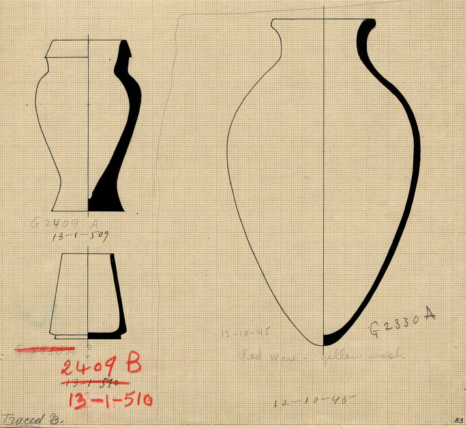 Drawings: Pottery, jars from G 2409, Shaft A-B, and G 2330 (= G 5380), Shaft A