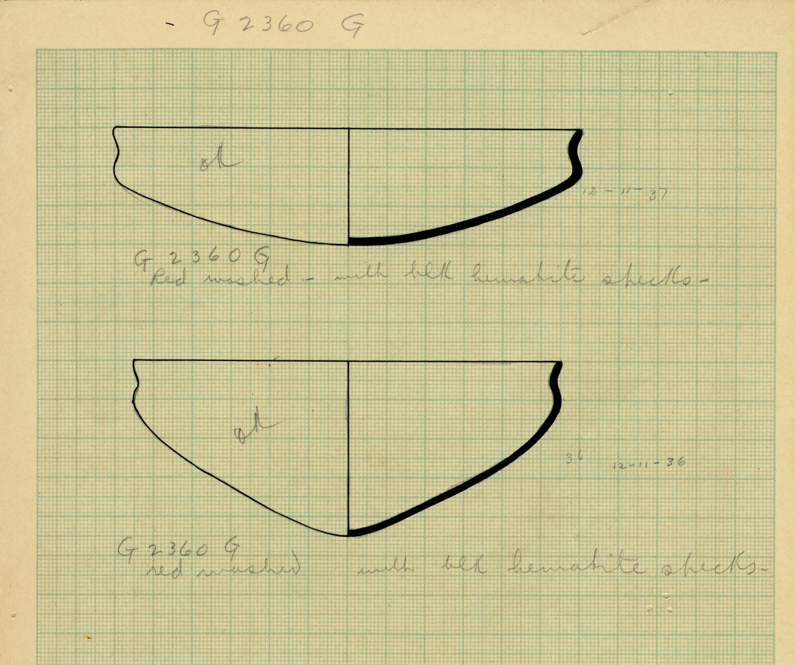 Drawings: G 2360 G: pottery, bowls with recurved rim