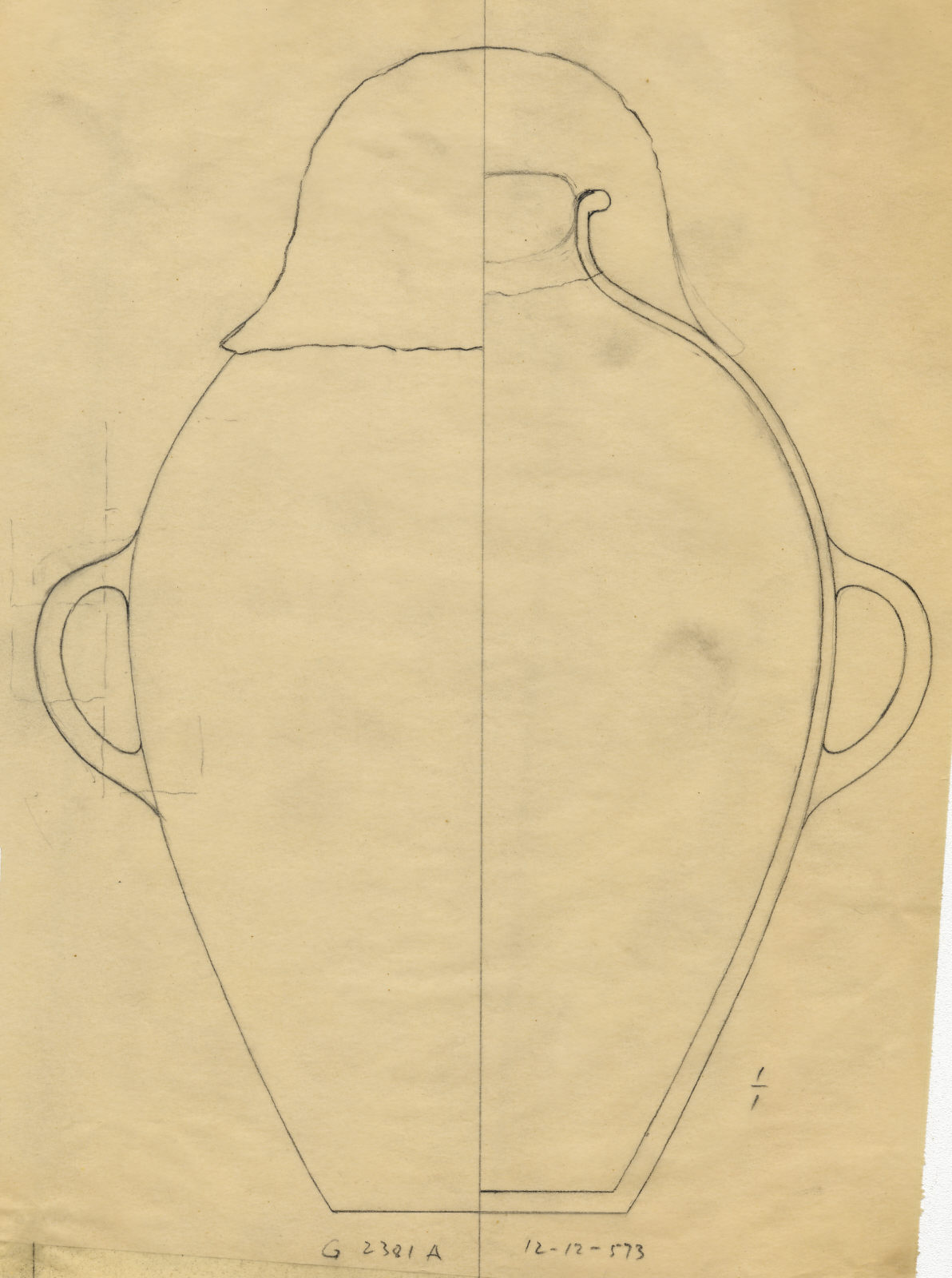 Drawings: G 2381, Shaft A: pottery, jar with two handles, sealed with stopper