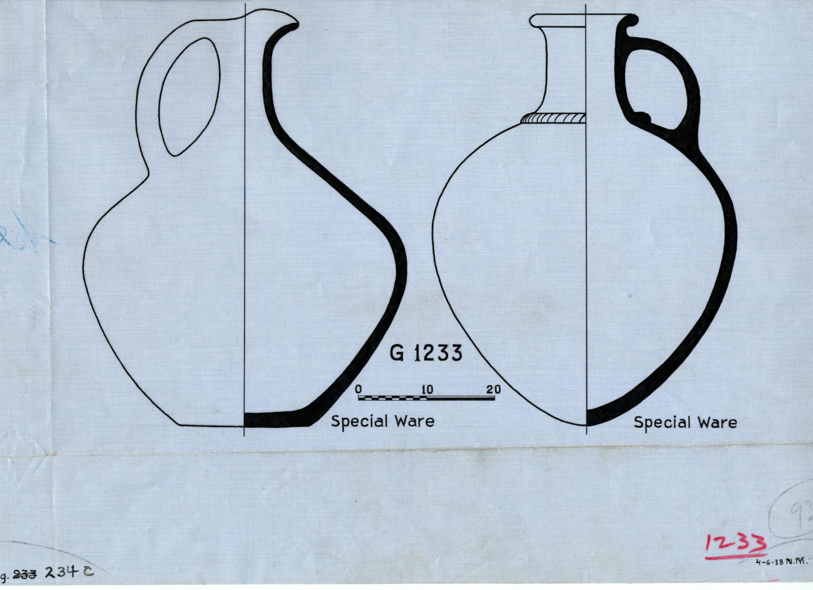 Drawings: G 1233-Annex, Shaft A: pottery, pitchers with handle