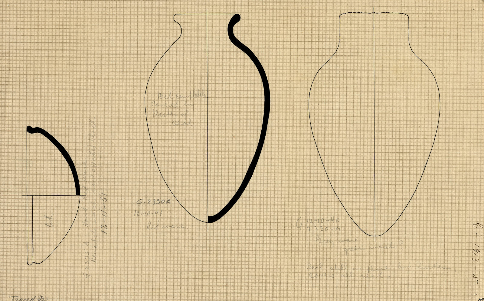 Drawings: Pottery from G 2352, Shaft A (mislabeled G 2335 A) and G 2330 (= G 5380), Shaft A