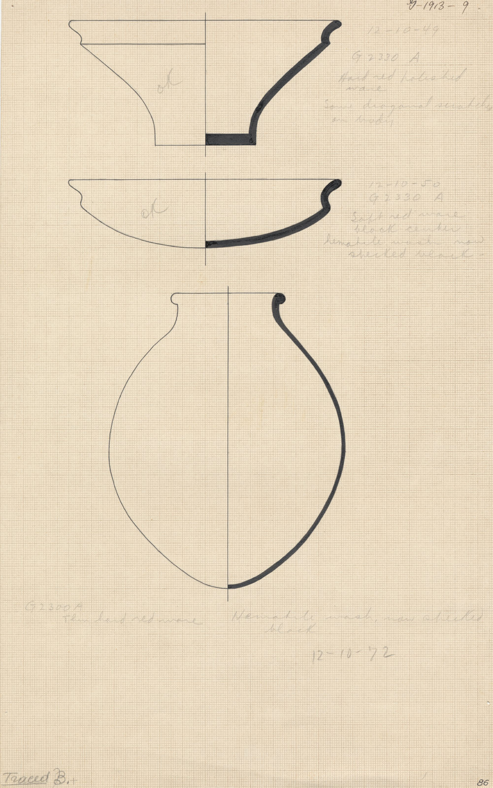Drawings: Pottery from G 2330 (= G 5380), Shaft A and G 2300 (= G 5190), Shaft A