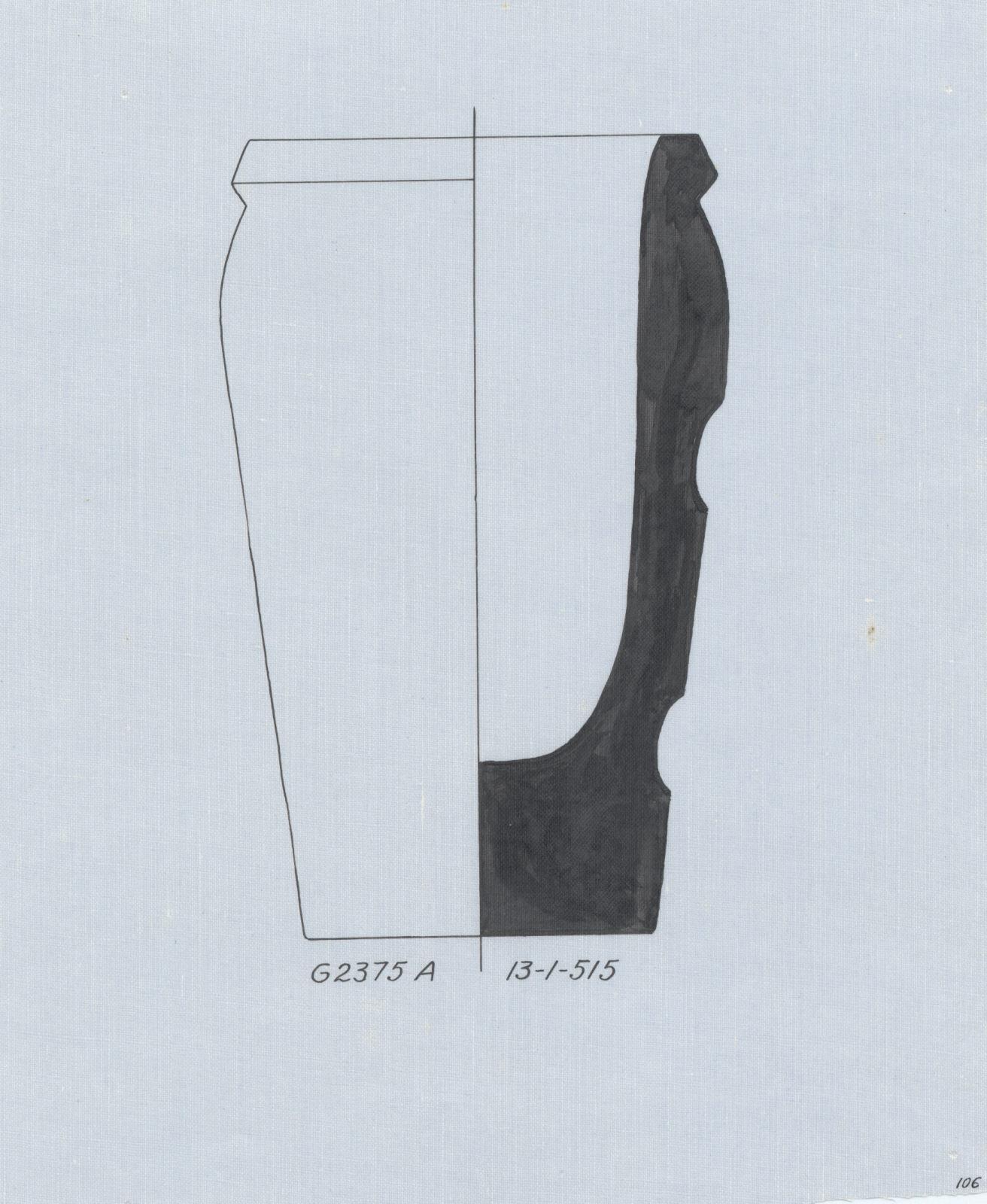 Drawings: G 2375, Shaft A: canopic jar, limestone