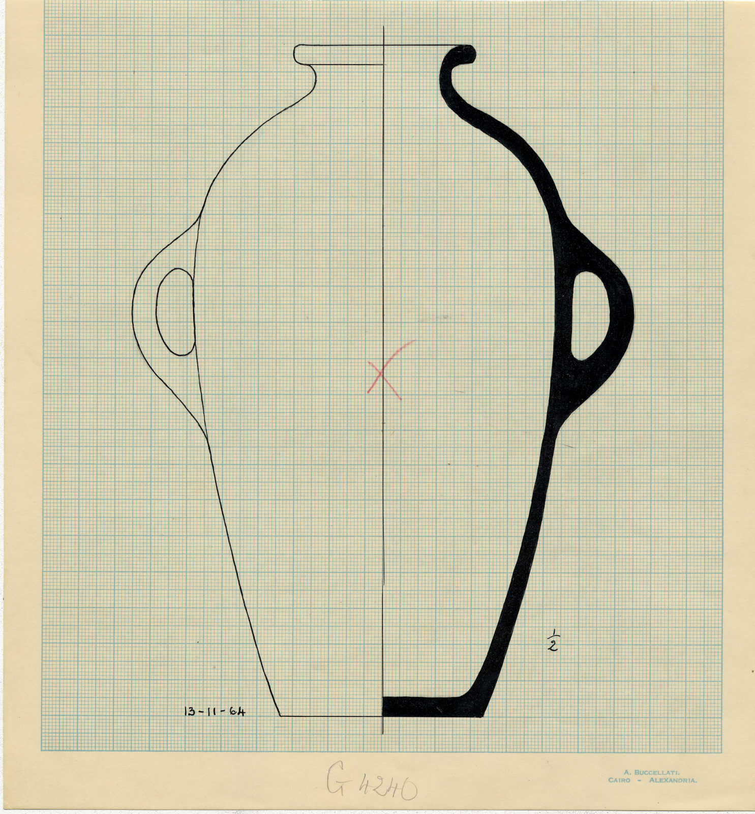 Drawings: G 4240 A: pottery, jar with two handles