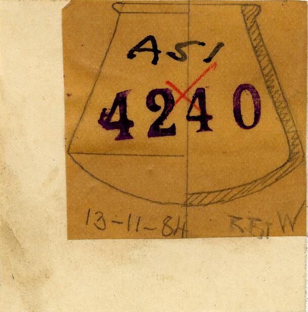 Drawings: G 4240, Shaft A: pottery, model jar
