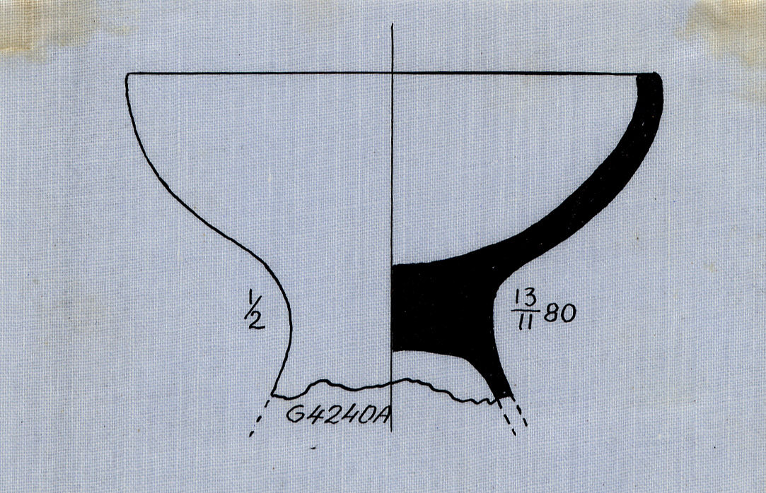 Drawings: G 4240, Shaft A: pottery, footed bowl