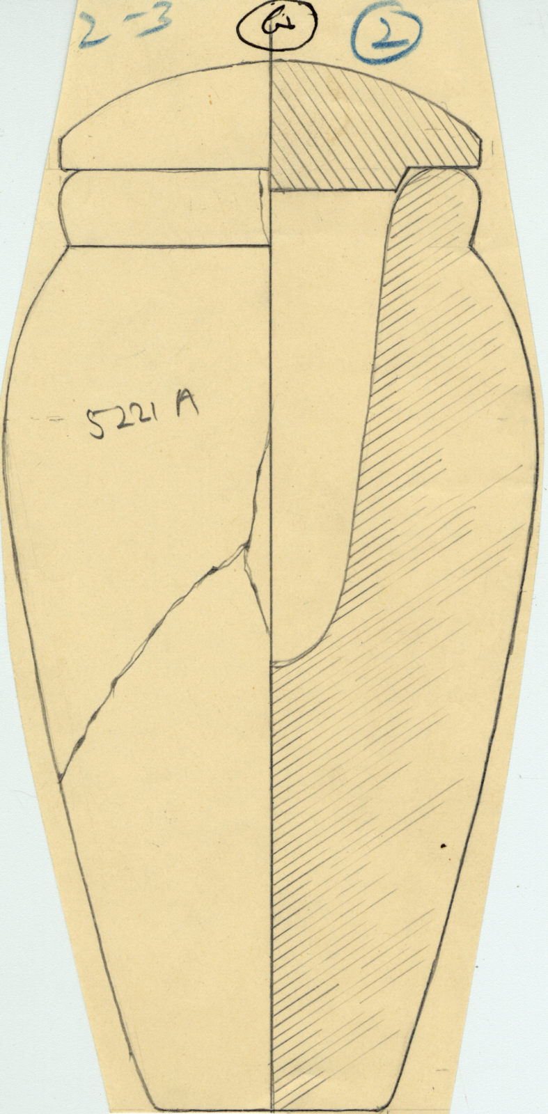Drawings: G 5221, Shaft B (mislabeled A): canopic jar and lid, limestone