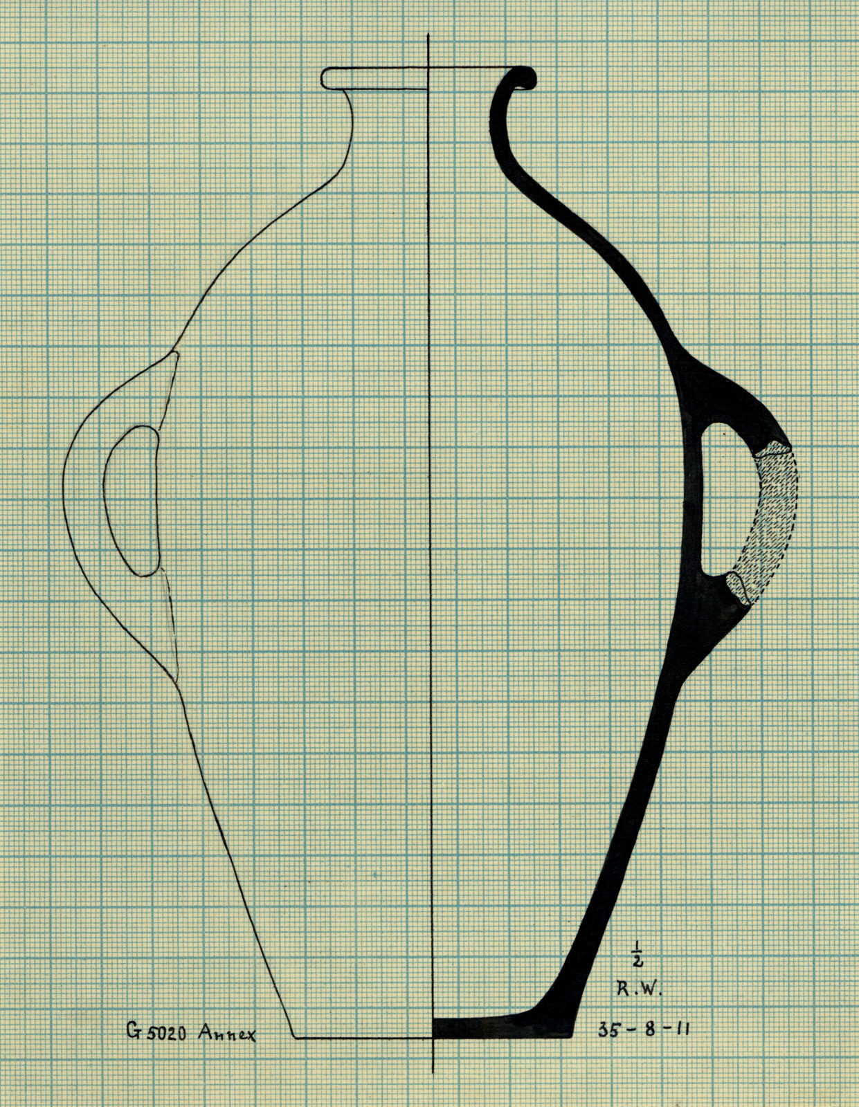 Drawings: G 5020-Annex: pottery, jar with two handles