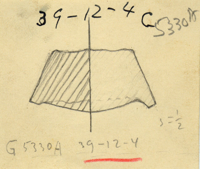Drawings: G 5330, Shaft A: jar stopper, plaster