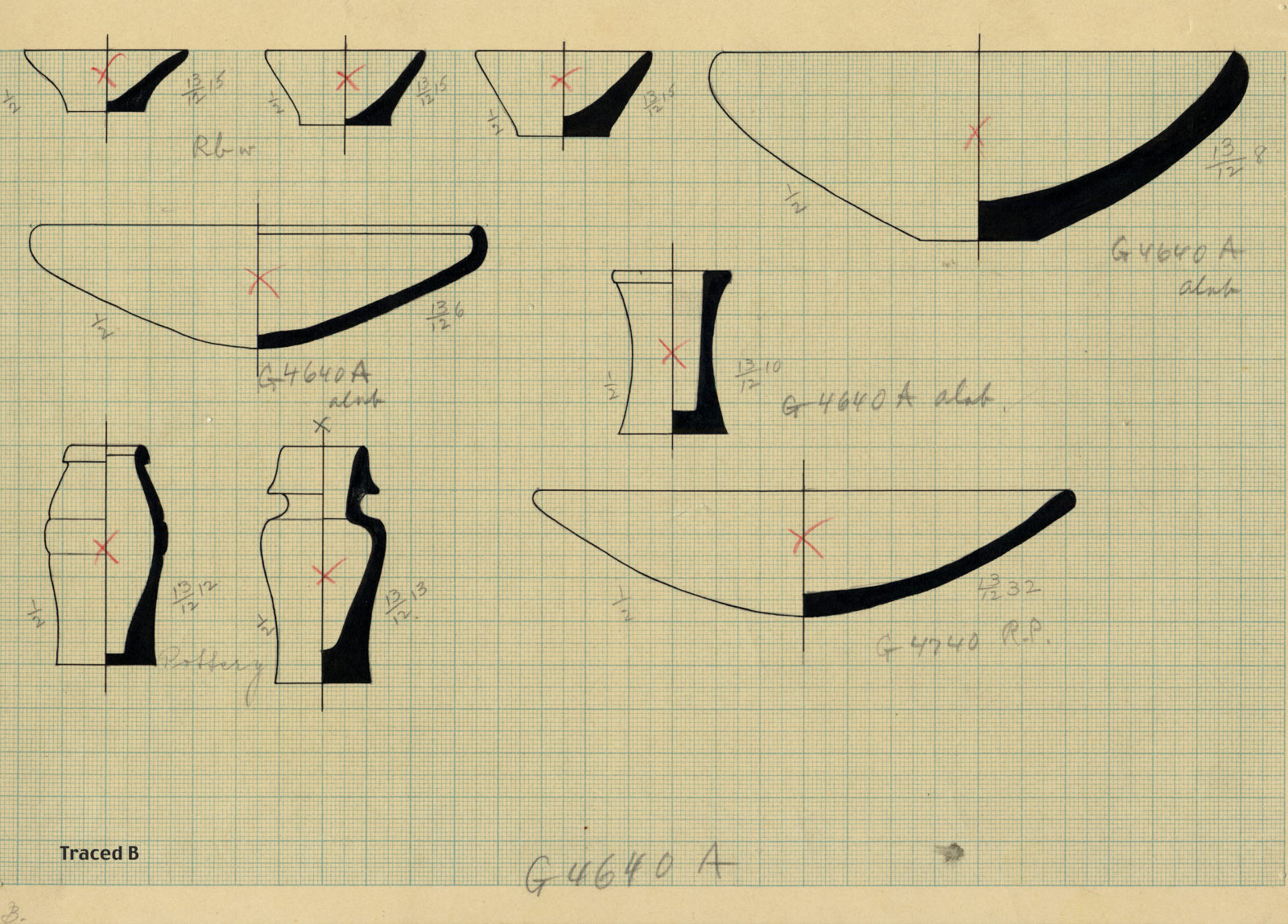 Drawings: Objects, alabaster and pottery, from G 4640, Shaft A, and G 4740