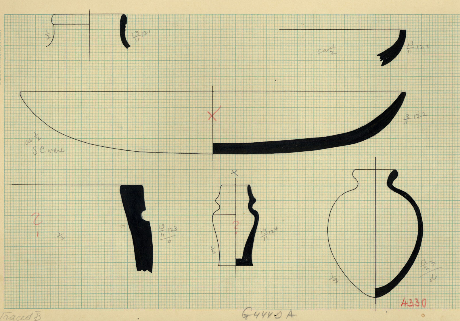 Drawings: Pottery from G 4330, Shaft A, and G 4440, Shaft A