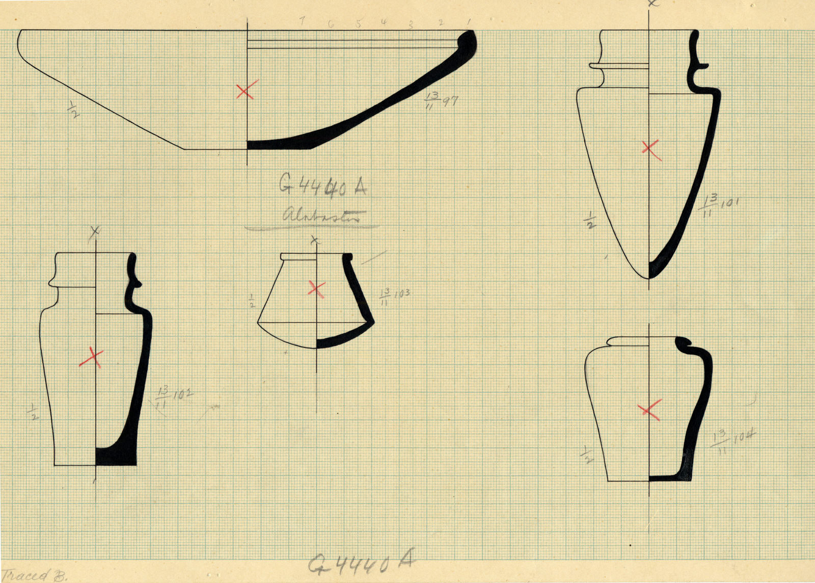 Drawings: G 4440 A: objects, alabaster and pottery