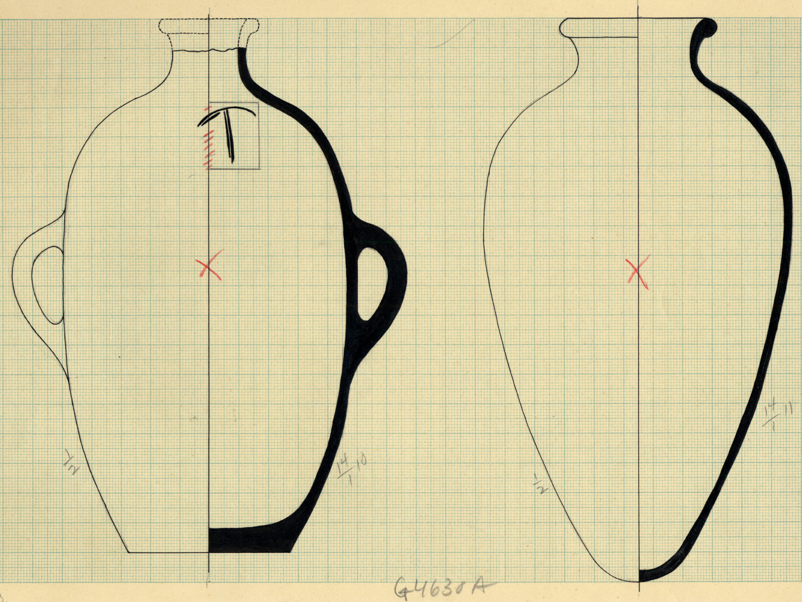 Drawings: G 4630, Shaft A: pottery, jars