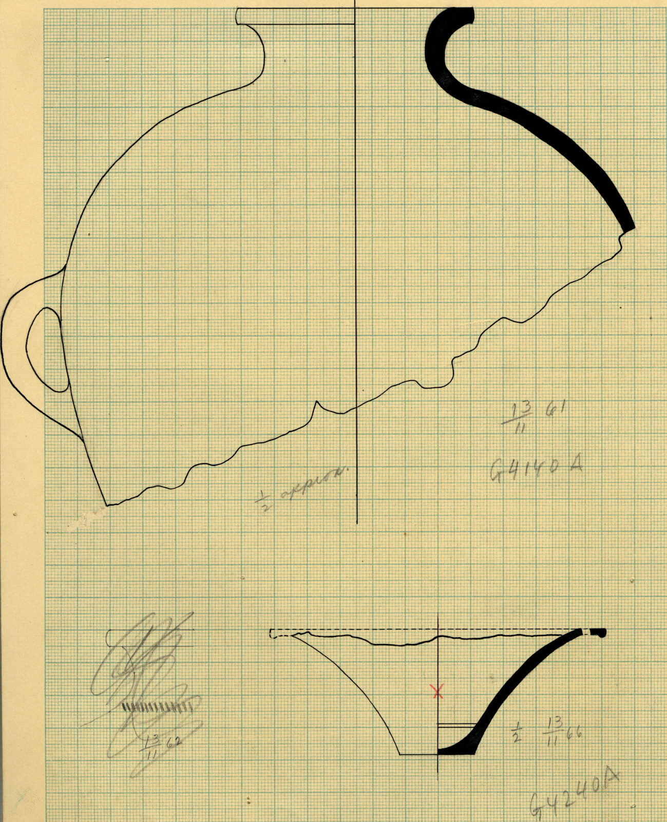 Drawings: Pottery from G 4140, Shaft A, and G 4240, Shaft A