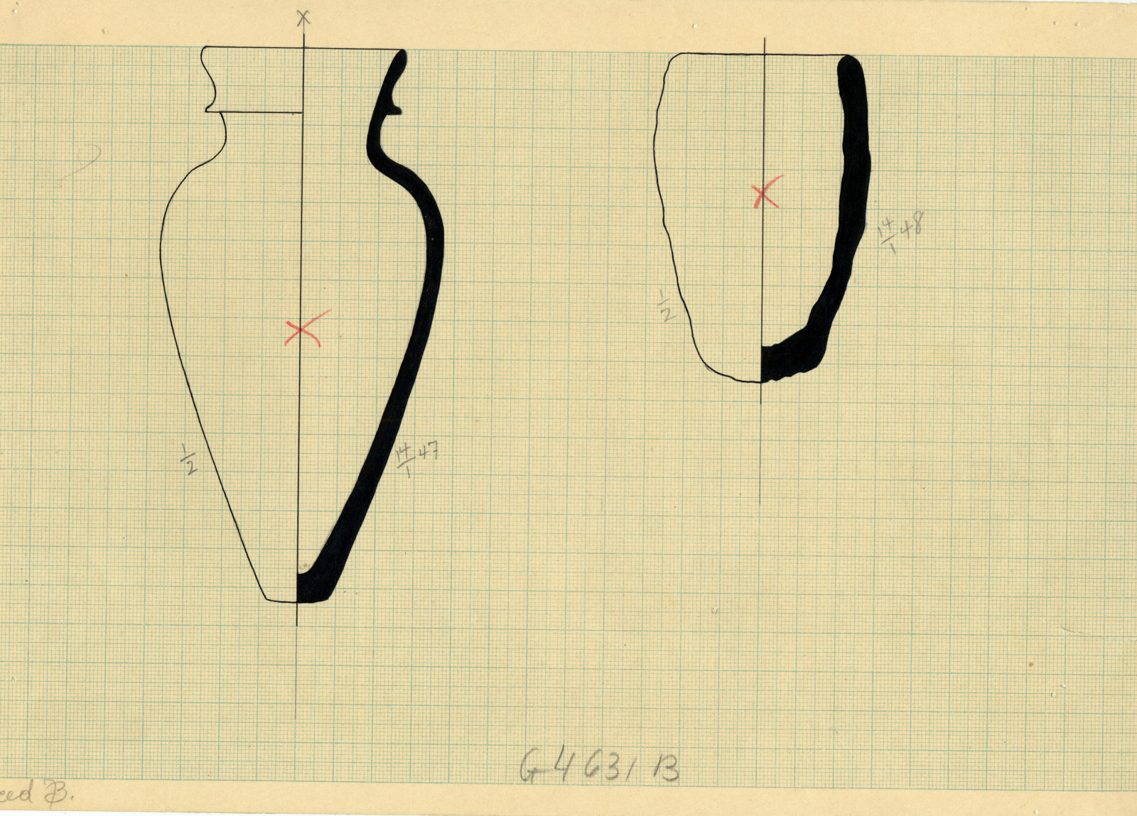 Drawings: G 4631, Shaft B: pottery, jars