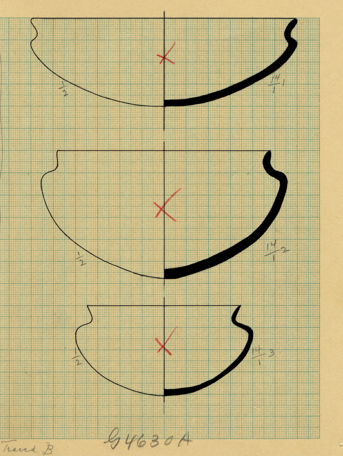 Drawings: G 4630, Shaft A: pottery, bowls with recurved rims
