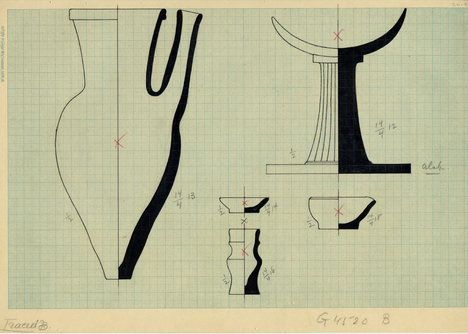 Drawings: G 4520, Shaft A: objects, alabaster and pottery
