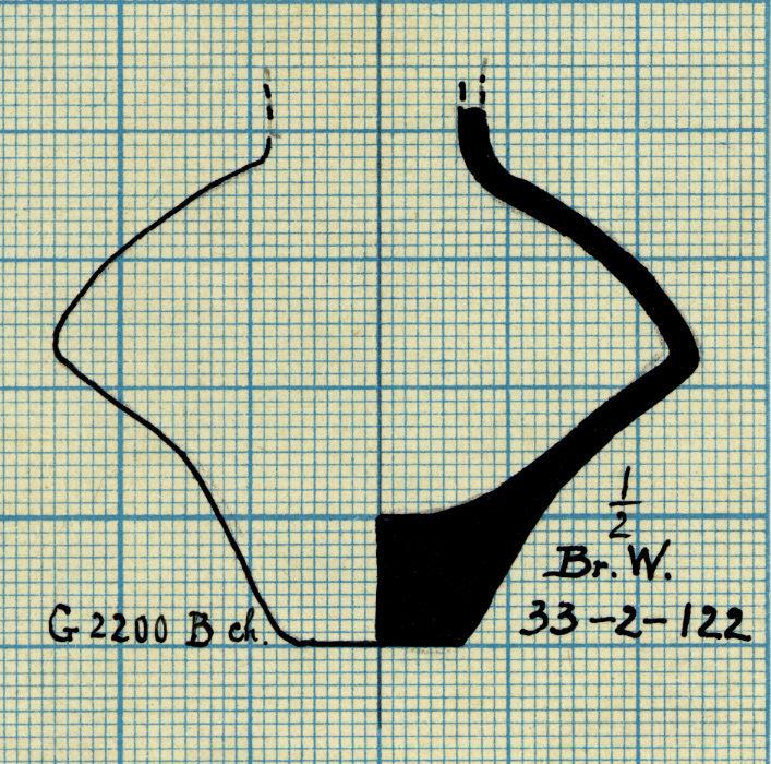 Drawings: G 2200 (= G 5080), Shaft B, chamber: pottery, jar