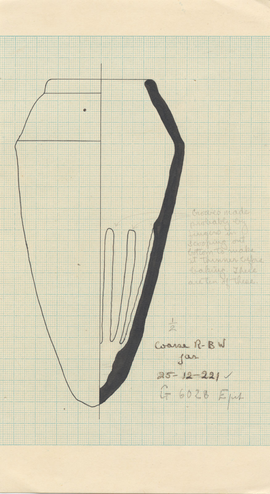 Drawings: G 6028, Shaft E: pottery, offering jar
