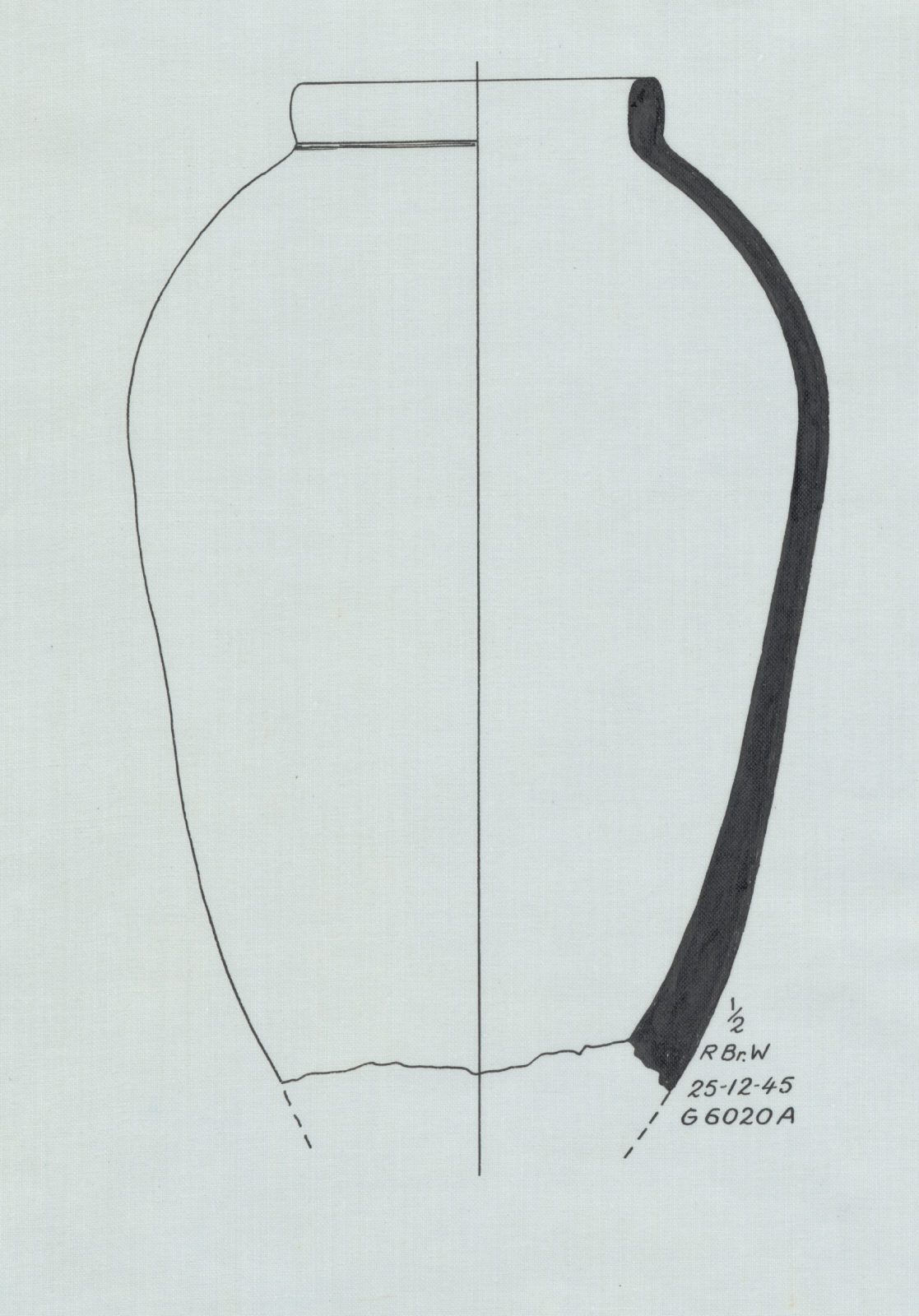 Drawings: G 6020, Shaft A: pottery, offering jar